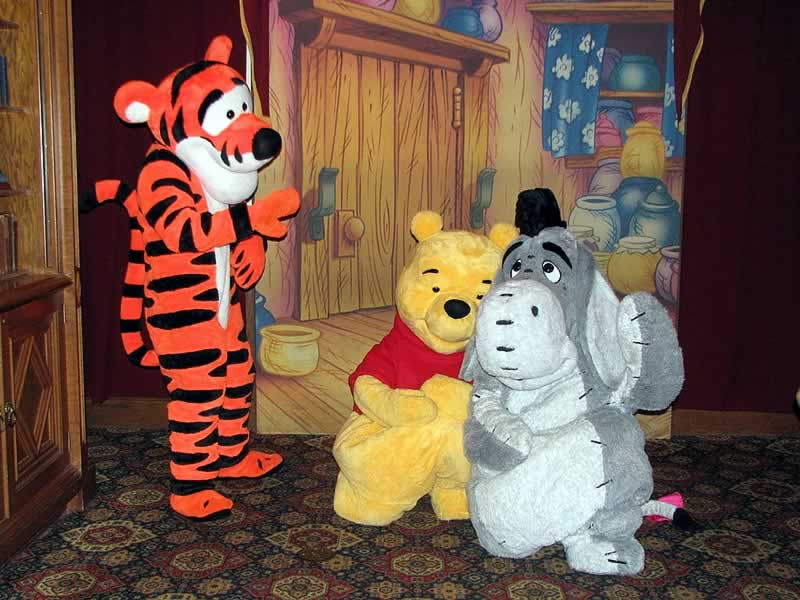 Personagens Pooh, Bisonho e Tigrão no Magic Kingdom
