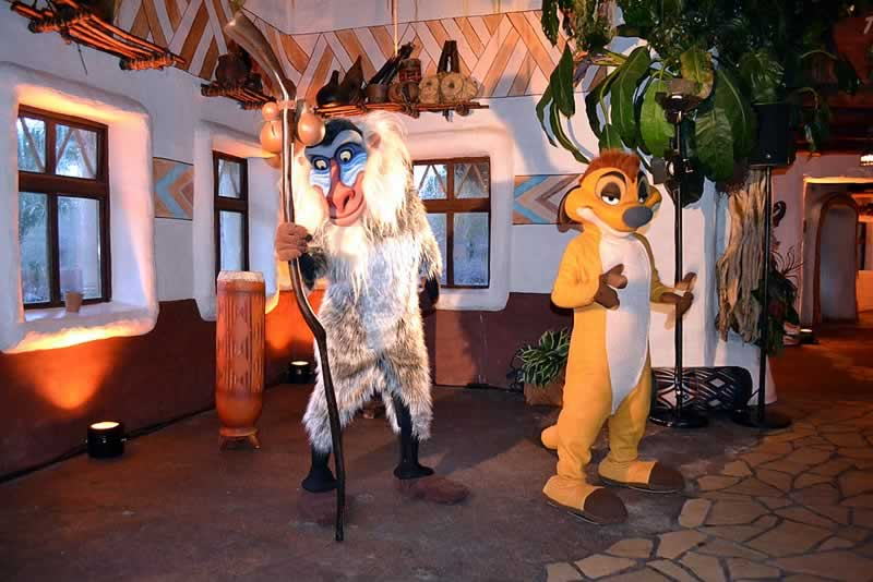 Personagens Timão e Rafiki no Animal Kingdom